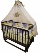 "Promotion! Set ""Weasel Eco"": the pendulum crib, mattress coconut bed 8 elements"