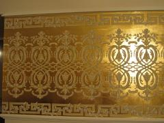 The wall painting, gilding (gold leaf, foil), patina